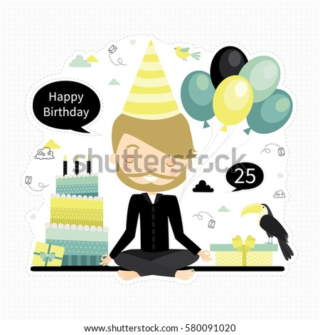 Cute Vector Birthday Card With Young Boy Handsome Man Cake Presents Balloons