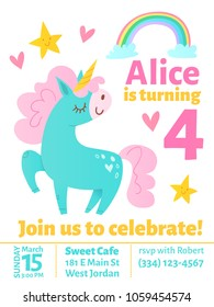Cute vector birthday invitaition with funny dreaming unicorn and rainbow