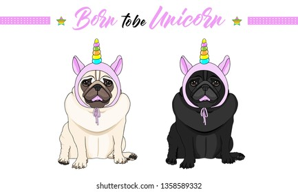 cute vector black and fawn pug puppy dogs sitting down, wearing pink bonnet with unicorn horn with rainbow colors