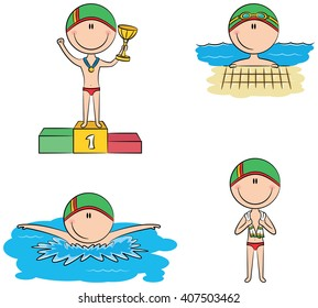 Cute vector boys in different situations in the pool: swimming, standing with a towel and on the winner's podium with the cup