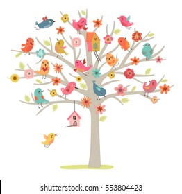 Cute vector card. Birds family on a tree.