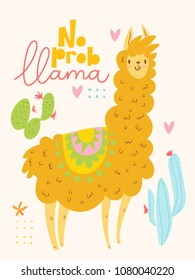 Cute vector card design with cartoon lama and cacti and lettering