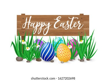 Cute vector card Happy Easter with wooden signboard, green grass and spring flowers and decorated eggs. Easter poster with realistic grass meadow, blooming Bellis and eggs. Card design, template.