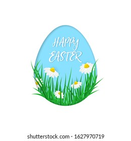 Cute vector card Happy Easter with green grass, spring flowers into the eggs. Easter poster with realistic grass meadow, blooming Bellis. Paper cut card design, template on white background.