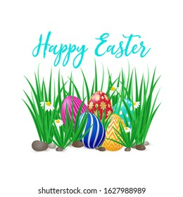Cute vector card Happy Easter with green grass, spring flowers and decorated eggs. Easter poster with realistic grass meadow, blooming Bellis and eggs. Card design, template on white background.