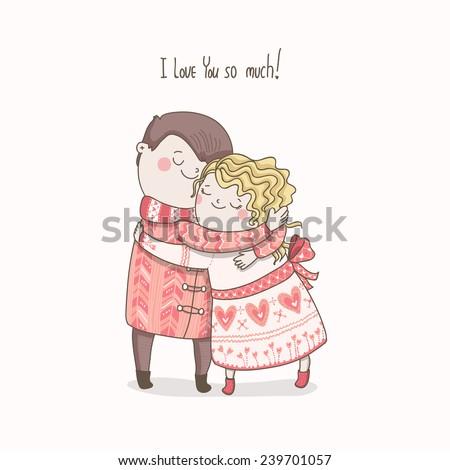 Cute Vector Card Love You Much Stockvector Rechtenvrij 239701057