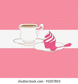 Cute vector card with tea cap and sweet cupcake
