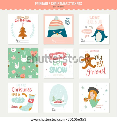 Cute Vector Cards Notes Stickers Labels Stock Vector (Royalty Free ...