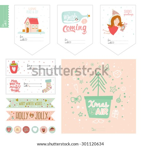 Cute Vector Cards Notes Stickers Labels Stock Vector