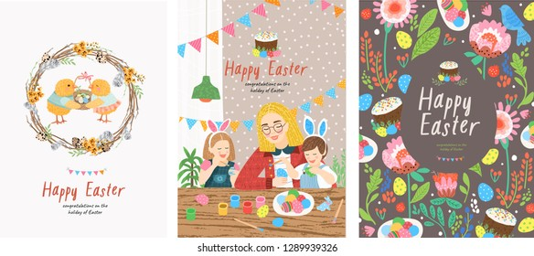 Cute vector cards, posters and banners with a Happy Easter greeting! Illustrations of a wreath of willow twigs, a family of coloring eggs and a festive pattern