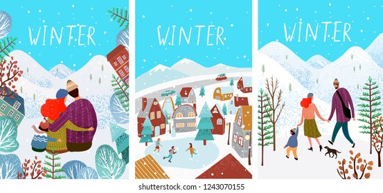 Cute vector cards or posters with illustrations of winter: a city with a skating rink and people on skates and a happy family strolling through the winter forest and hugging, a mountain landsca