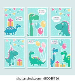 Cute vector cards set with dinosaurs, balloons, birthday greetings on blue background