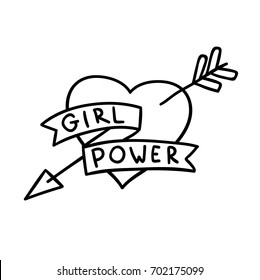 Cute vector cartoon 80s 90s comic style hand drawn doodle rainbow arrow and heart feminism sign Girl Power coloring book black and white sticker or tattoo illustration