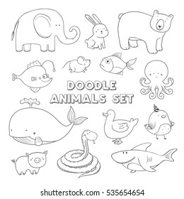 Cute vector cartoon doodle animals. Hand drawn illustration.