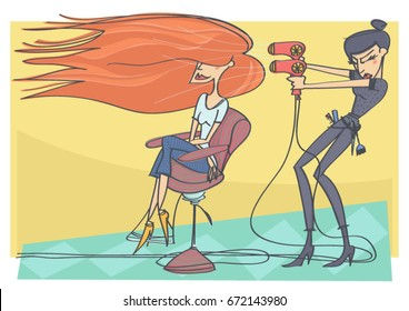 Cute vector cartoon of hairdresser using hairdryer on customer