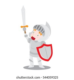 Cute vector cartoon illustration of a boy wearing knight armor rising his sword in isolated white background