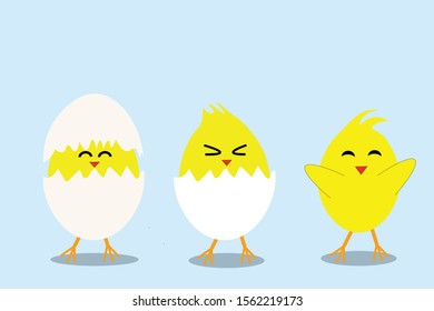 Cute vector cartoon illustration of step-by-step process baby chicken hatching from the egg.