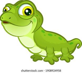 Cute vector cartoon lizard with green spots