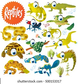 cute vector cartoon reptile collection. colorful illustrations of boa, python, anaconda, iguana, lizard, moloch, crocodile, alligator, turtle, tortoise, newt, salamander, gecko, tree frog and toad