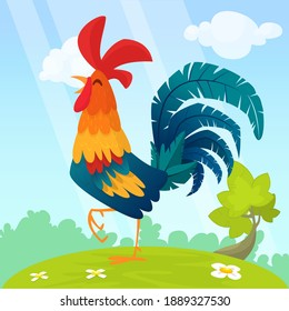 Cute vector cartoon rooster illustration isolated on summer meadow background