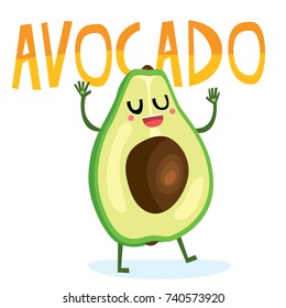 Cute vector cartoon style character mascot illustration of happy avocado