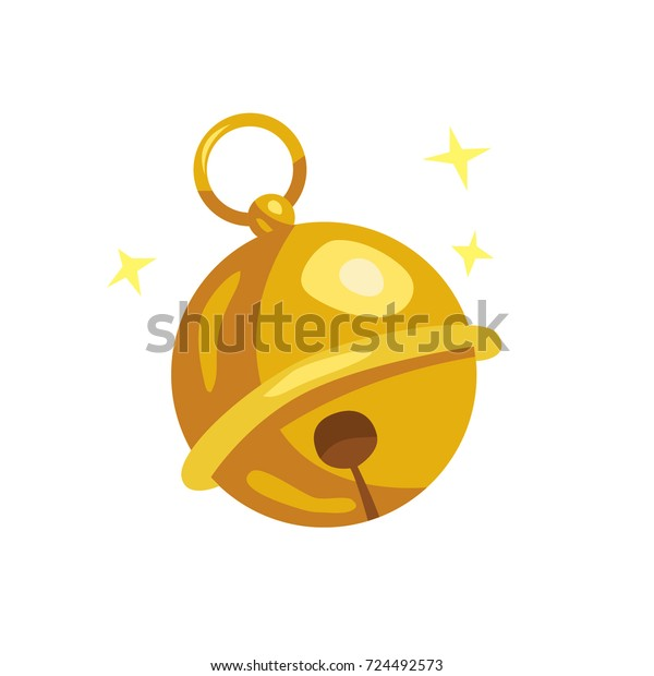 Cute vector cartoon style gold Christmas jingle bell ball isolated on white background. Christmas symbol concept for design decoration