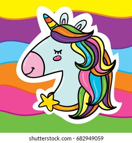 Cute vector cartoon style outlined illustration of fancy beautiful unicorn horse head with rainbow hairs and star necklace on rainbow background