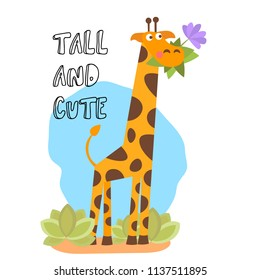Cute vector cartoon trendy design little giraffe with grass and flower in mouth. African animal wildlife vector illustration illustration.
