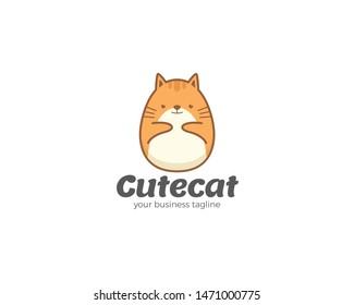 Cute vector cat cartoon logo template. Vector flat linear illustration and logo design template. Pet sitting logo with cartoon cat, Cat sitting smiling design vector template. Home pet veterinary
