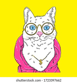 cute vector cat smile with pink jacket