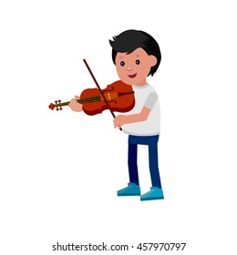 Cute vector character boy. Happy kid playing on violin. Education and child development. Banner for kindergarten, children club or school of Arts, music school