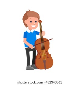 Cute vector character child. Happy kid playing on contrabass. Education and child development. Banner for kindergarten, children club or school of Arts, music school