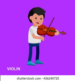 Cute vector character child. Happy kid playing on violin. Education and child development. Banner for kindergarten, children club or school of Arts, music school