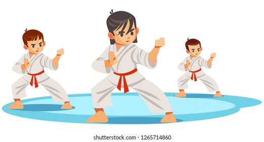 Cute vector character child . Illustration for martial art poster. Kid wearing kimono and karate training. Illustration of Kid take karate fighting pose