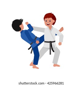 Cute vector character child. Illustration for martial art judo poster. Kid wearing kimono and training judo