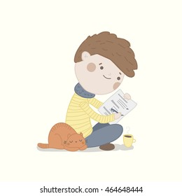 Cute vector character is having a quiz. Education illustration.