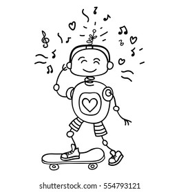 Cute vector character illustration of a robot rolling on a skateboard. Perfect for a children cartoon, design children shop, children clothes. Hand draw the outline of the robot