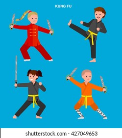 Cute vector character kid Shaolin monk. Illustration for martial art kung fu poster. Kid wearing kimono and training