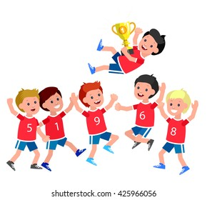 Cute vector character kids sports team wins a golden cup, happy winning celebration