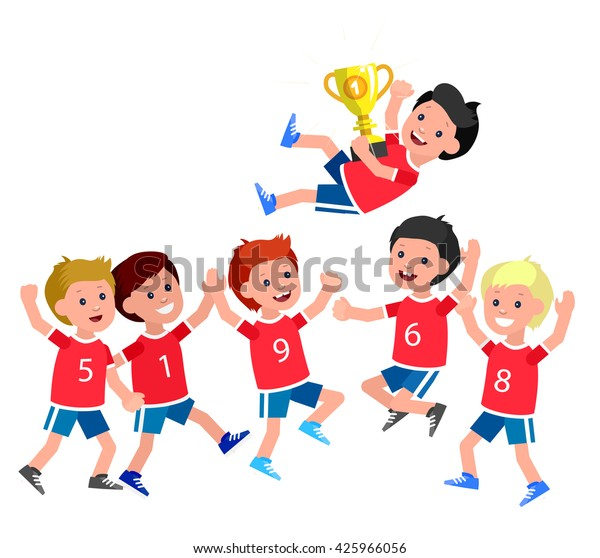 Cute Vector Character Kids Sports Team Stock Vector Royalty Free 425966056