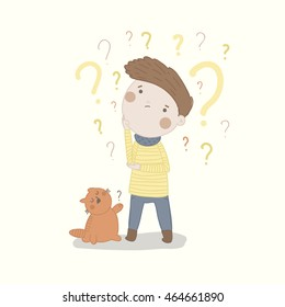 Cute vector character is trying to find answer to many questions