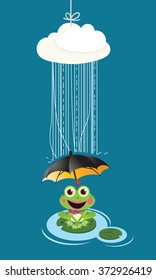 Cute Vector Child illustration with frog in rain