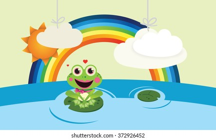 Cute Vector Child illustration with frog and rainbow