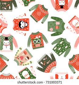 Cute vector Christmas seamless pattern with ugly fun sweaters with kawaii illustrations for textile, paper wrapping and greeting cards