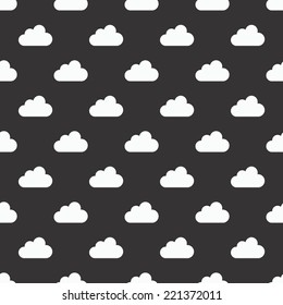 Cute Vector Clouds black and white Vivid Seamless Pattern Background