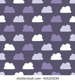 Cute Vector Clouds Seamless Pattern Background. Vector Illustration