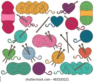 Cute Vector Collection of Balls of Yarn, Skeins of Yarn or Thread for Knitting and Crochet