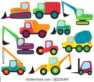 Cute Vector Collection of Construction Equipment and Vehicles