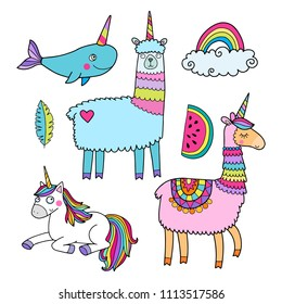 Cute vector collection with llama, unicorn and whale with horn. With rainbow colors and outlines.