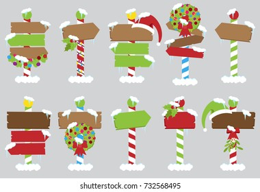 Cute Vector Collection of North Pole Signs or Christmas and Winter Themed Signs